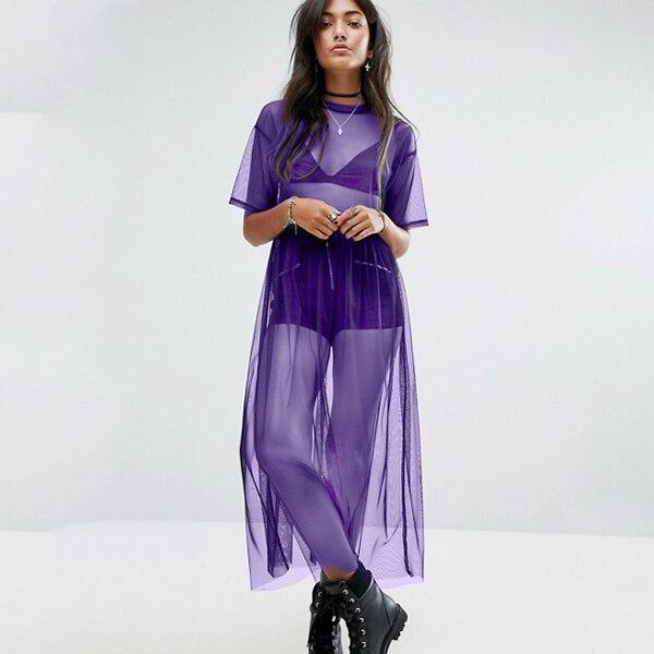 He1fc435f85db437cbb9fcd9ea4b264bcF Women See Through Mesh Long Blouse Cover Up Shirt Dress Sheer Beach Cover Up Tulle Lace Transparent Streetwear Blusas Tee