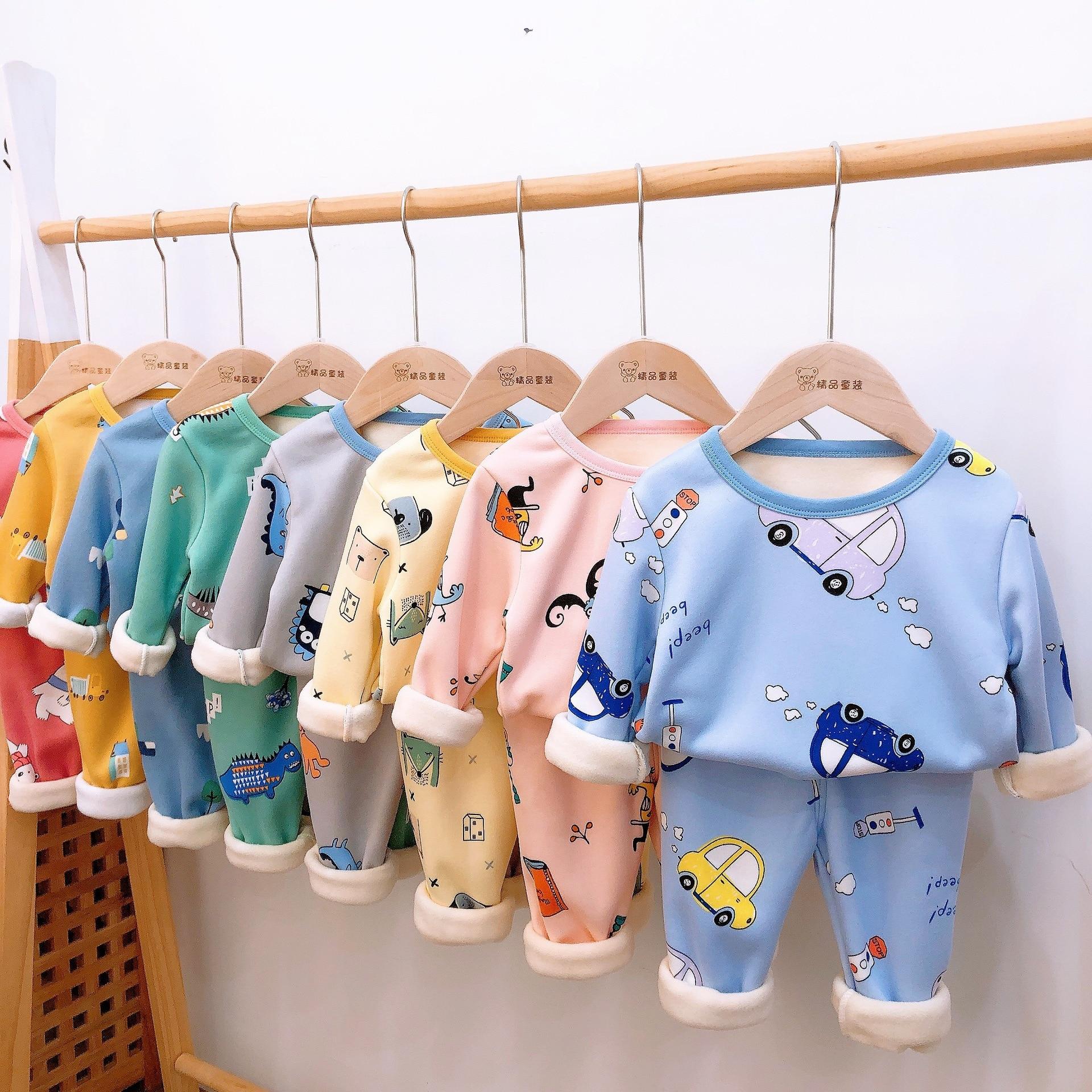 2-8Kids Pajamas Sets Baby Boys Girls Velvet Warm Long Sleeved Tshirt+Pant Cartoon Clothing Autumn Sleepwear Suit Pyjama Trousers