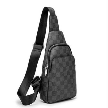 Luxury men check pattern Sling Bags chest bag Leather Sports Crossbody Shoulder Bag male breast bag Messenger Chest Pack men bag genuine leather chest bag famous brand chest shoulder messenger bags casual vintage sling back pack of the