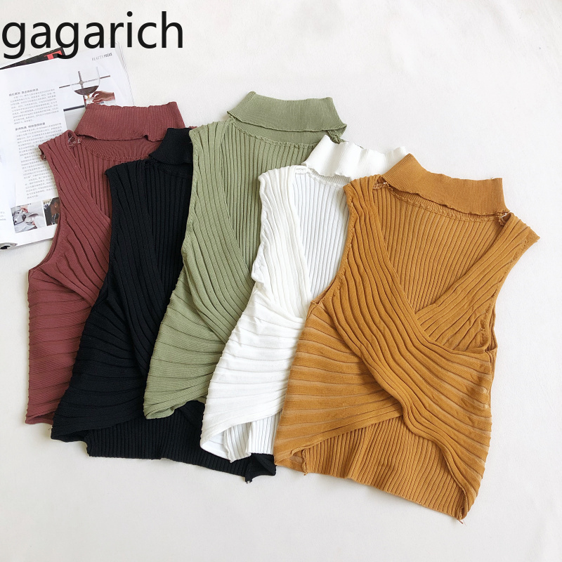 Gagarich Women Solid Vintage Vest 2020 Summer New Sexy Crisscross Low Chest Slim Short Tops  Ladies O Neck Pullover Casual Tanks
