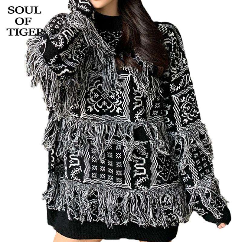 SOUL OF TIGER 2019 mode coréenne hiver Style Punk pulls dames de luxe coton Patchwork chandails femmes décontracté chaud pulls