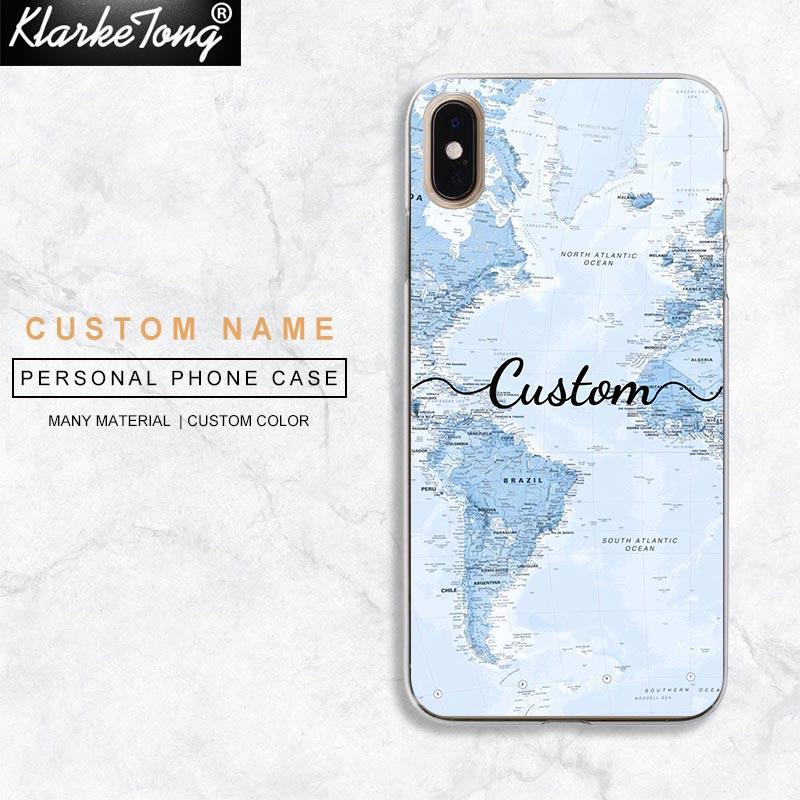 Пользовательский синий карта мира чехол для телефона для iPhone 11 7 8 6s Plus Xs Max Xr 5S Se DIY ударопрочный стеклянный чехол для плана путешествий