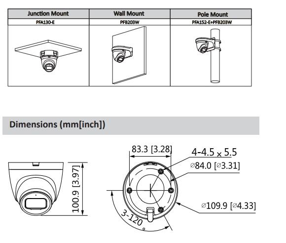 Dahua nouvelle caméra IP POE Lite 4MP H.265 prise en charge de la micro à LED IR intégrée 256 GB mode de Rotation de la carte SD IPC-HDW2431T-AS-S2 caméra de sécurité