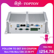 Topton Industrial Mini Desktop Computer i7 8550U i5 8250U Quad Core 2*DDR4 2*COM Windows10 Linux Fanless Mini PC VGA HDMI WiFi