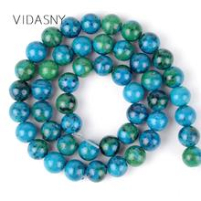 Natural Stone Chrysocolla Round Spacer Beads Diy Necklace Bracelet 4mm-12mm Loose Beads For Jewelry Making 15'' Wholesale natural stone chrysocolla approx 14x16mm oval shape loose beads approx 39cm diy jewelry making bracelet necklace