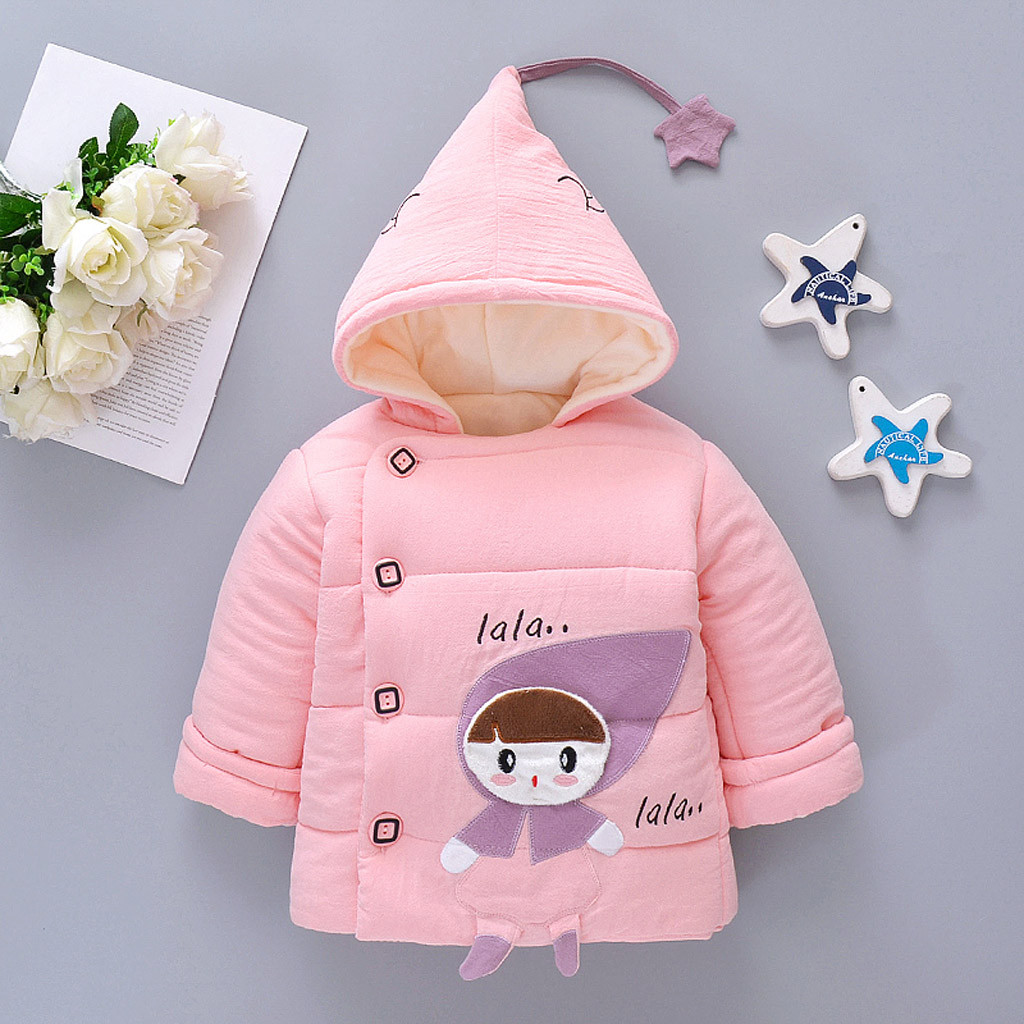 Coat Jacket Outwear Newborn Infant Baby-Girls Long-Sleeve Winter Hooded Cartoon Single-Breasted title=