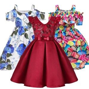 Nova moda rosa flarol impressão vestido de baile tutu vestido para meninas princesa festa de aniversário crianças vestido roupas 3 4 5 6 7 8