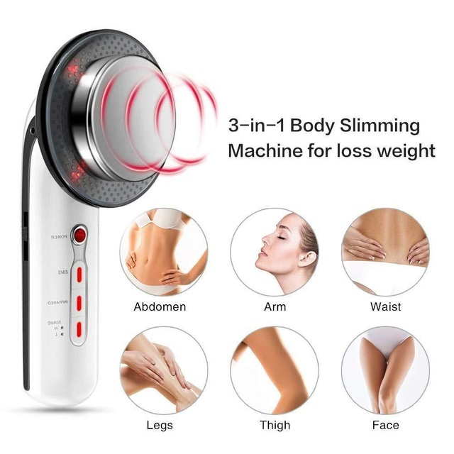 3 in 1 EMS Infrared Ultrasonic Body Massager Device Ultrasound Weight Loss Slimming Fat Burner Cavitation Face Beauty Machine 3