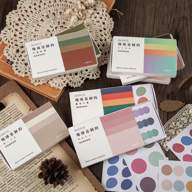 30 Sheets Earth Is Round Series Journal Decorative Stickers Set Scrapbooking Stick Label Diary Stationery Album Pure Sticker