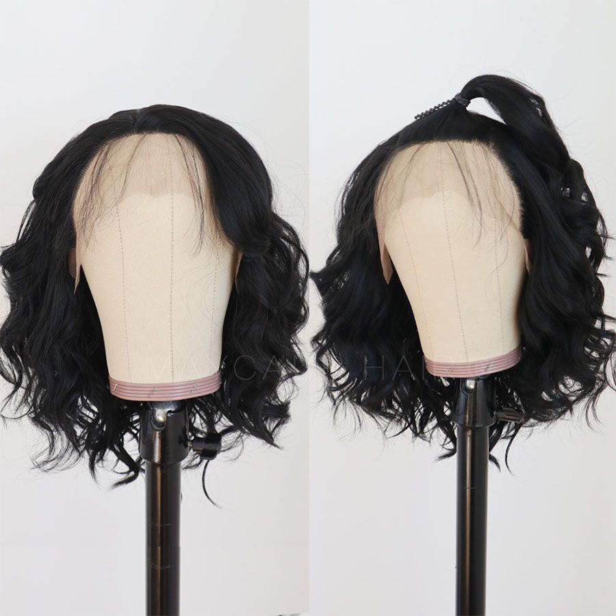 Maycaur Lace Front Wig Black Short Bob Wigs for Fashion Women Synthetic Wig Heat Resistant Soft Fiber Wavy Wigs (5)