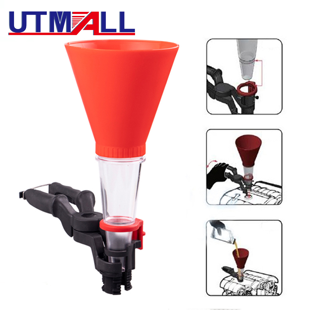 2pcs Universal Oil Funnel Tool Set With Clamp Brand New