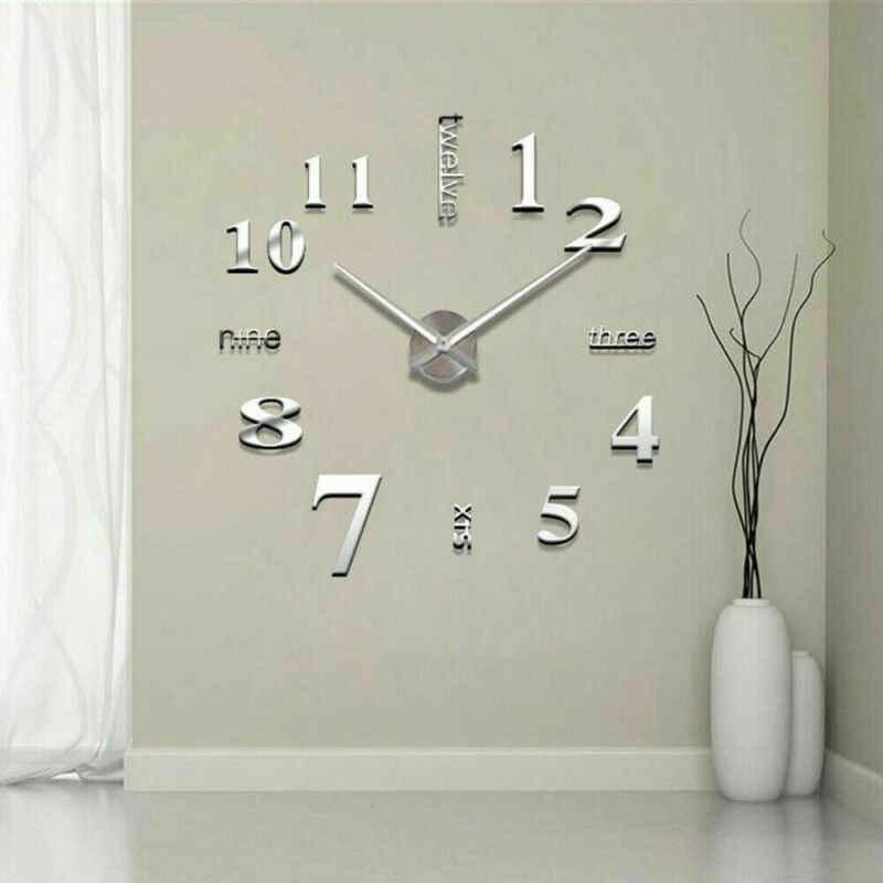 Moderno diy 3d grande número relógio de parede espelho adesivo decoração casa escritório crianças quarto