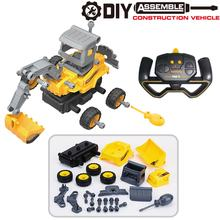2,4G Fernbedienung Engineering Fahrzeug DIY Abnehmbare Montiert Puzzle Bagger Kreative RC Spielzeug Auto Modell(China)
