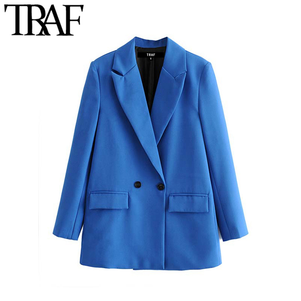 TRAF Women Chic Office Lady Double Breasted Blazer Vintage Coat Fashion Notched Collar Long Sleeve Ladies Outerwear Stylish Tops