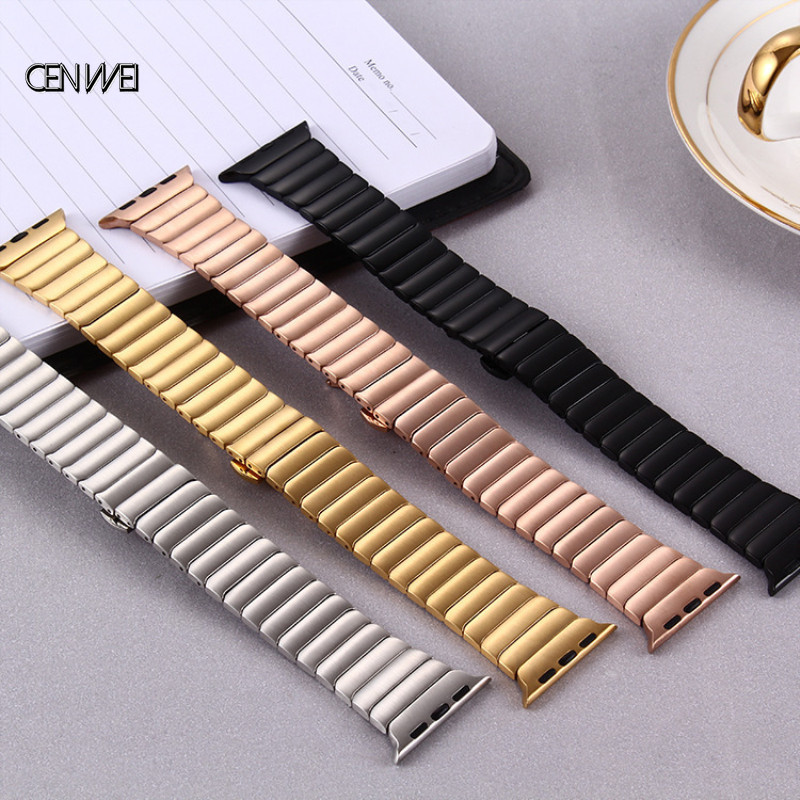 Metal Stainless Steel Link Strap For Apple Watch Band 38mm 42mm 40mm 44mm For IWatch 1 2 3 4 Watchband Buckle
