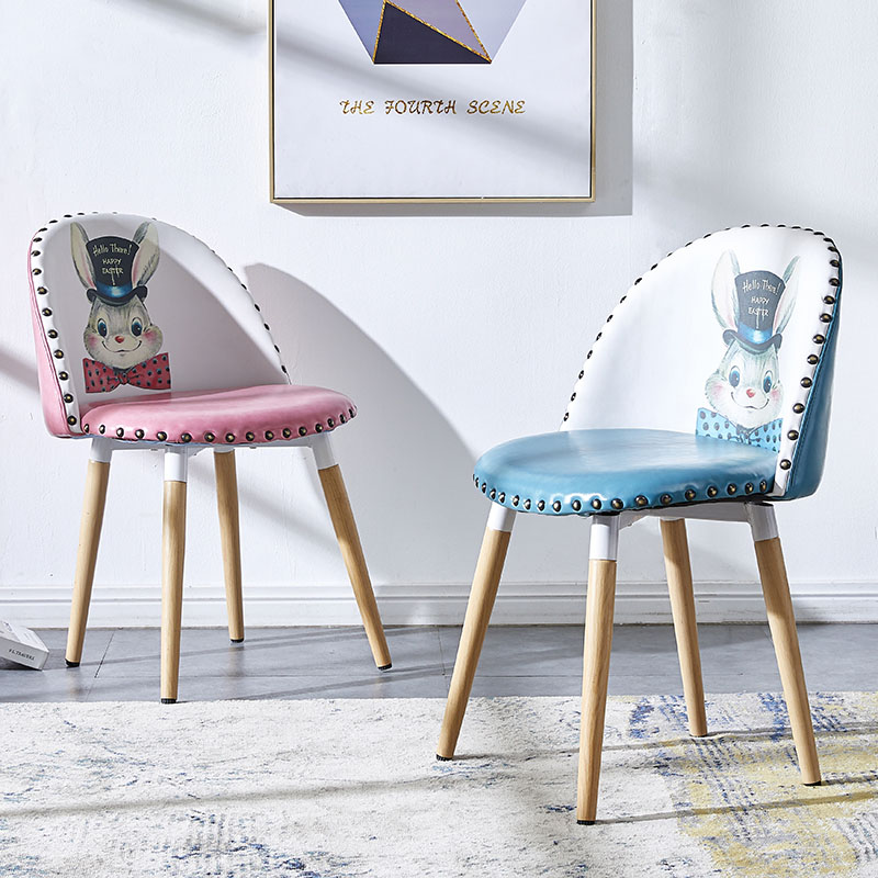 Nordic INS Metal Leather Makeup Chair Dining Chairs For Dining Rooms Restaurant Furniture Living Room Kitchen Cafe Dining Chairs