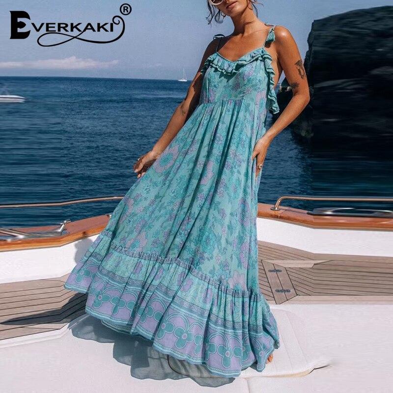 Everkaki Dress Long Women Boho Gypsy Print Ruffles Summer Vestidos Ladies Vintage Maxi Slip Dresses Chic Female 2020 Spring New