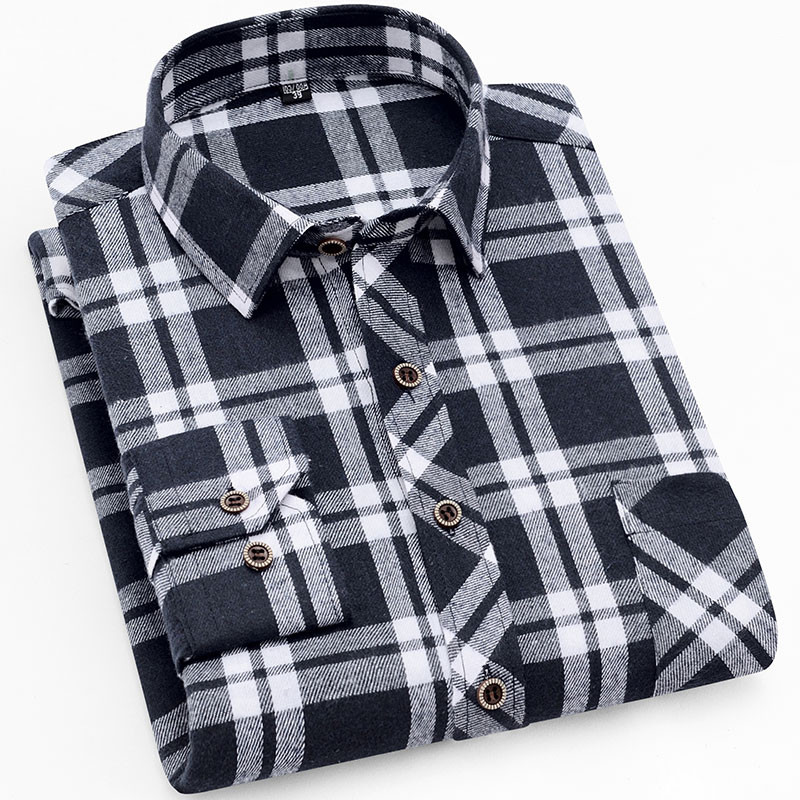 18 Colors 2019 Autumn Winter Warm Thick Mens Dress Shirt Casual Plaid Shirt Men  Brand Quality Cotton Social Business Shirt Men