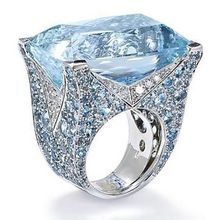 Rings For Women Fashion New Blue Square Ring Female Luxury High Temperament Retro Lake Blue Zircon Two-Tone Ring Gift For Women chic blue bead and leaf shape embellished retro ring for women
