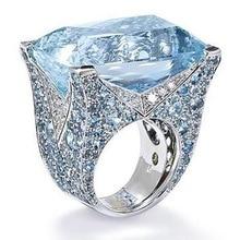 Rings For Women Fashion New Blue Square Ring Female Luxury High Temperament Retro Lake Zircon Two-Tone Gift