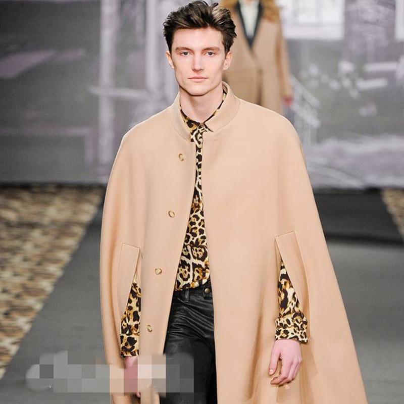 Autumn and Winter New Cape Cape Cape Coat coat collar Korean version of the bat shirt men's wool coat show in the long
