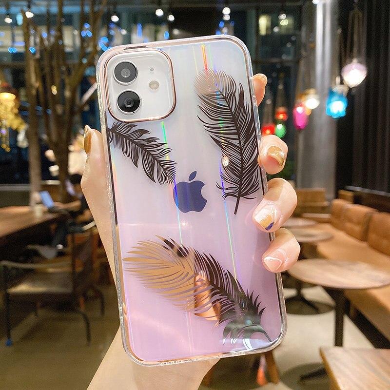 Funda de teléfono con pluma láser gradiente para iPhone, carcasa trasera transparente a prueba de golpes para iPhone 11 12 Pro Max 12Mini XR XS Max X 7 8 Plus 2