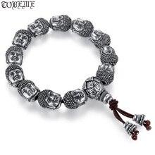 100% 999 Silver Sakyamuni Buddha Statue Beads Bracelet Tibetan Buddha Head Beaded Bracelet Wrist Mala Bracelet