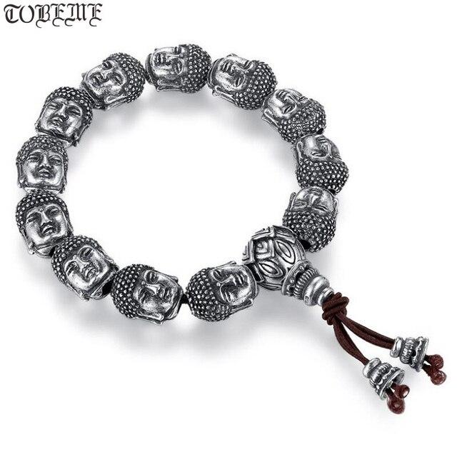 100% 999 Zilveren Sakyamuni Boeddha Standbeeld Kralen Armband Tibetaanse Boeddha Hoofd Kralen Armband Pols Mala Armband