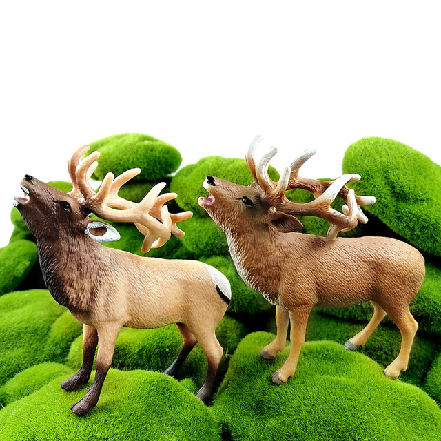 New Sika Deer Reindeer Elk figurine Simulation Animal model Diy home decor miniature fairy garden decoration accessories modern 2