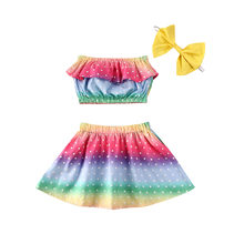 Baby's 3Pcs Set Toddler Baby Girl Bandeau Tube Top+Pleated Skirt + Headband Outfits Rainbow Stripes Clothes(China)