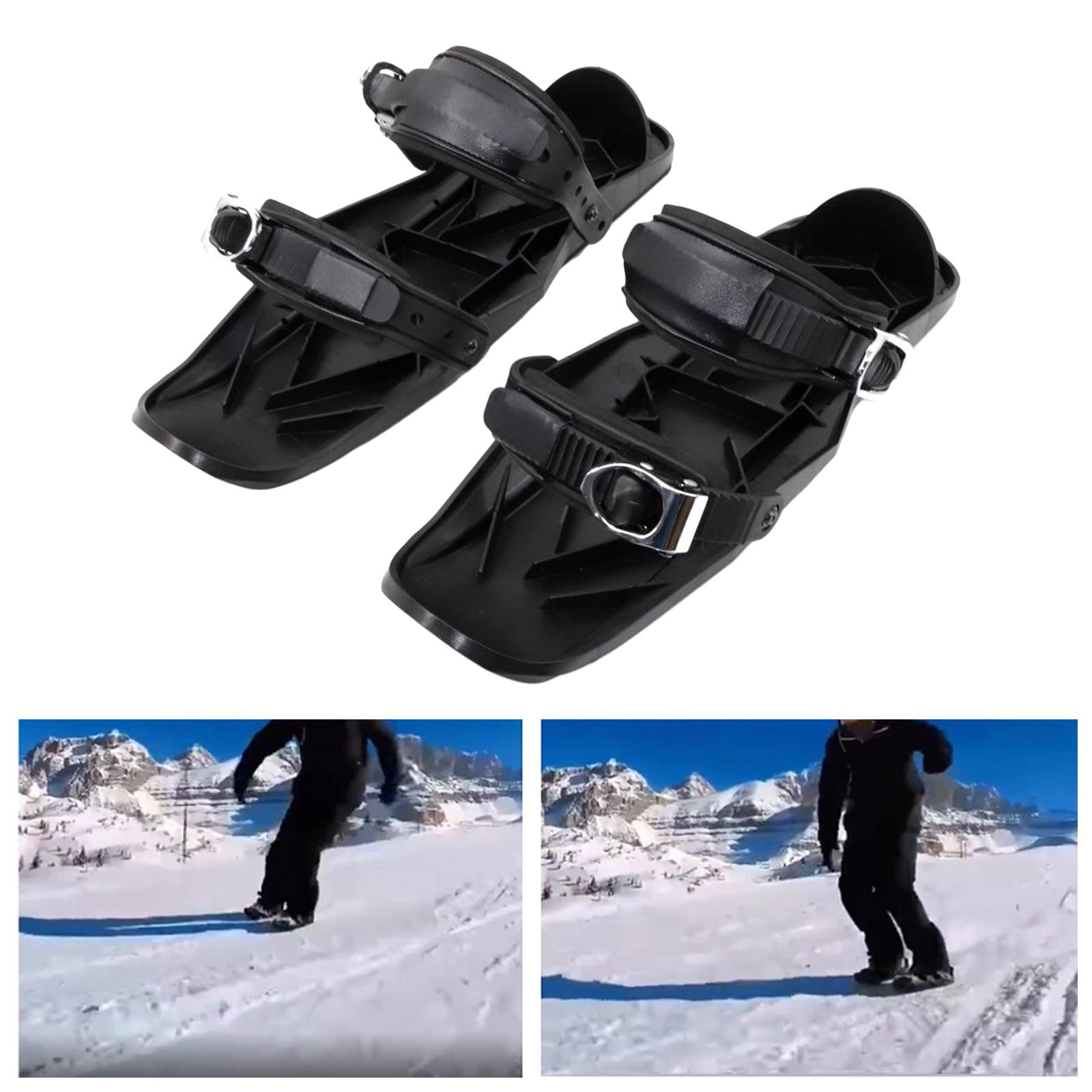 Creative Ski Skates Nylon Sole PU Bindings- Mini Snowskates Snowboard Sled- One Size Fits All, Stainless Steel Board Insert Sole