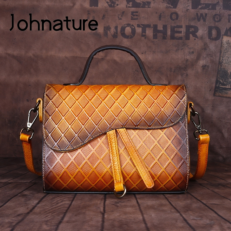 Johnature 2020 New First Layer Cowhide Women Bag Retro Hand Painted Handbag Genuine Leather Plaid Lady Shoulder Messenger Bag