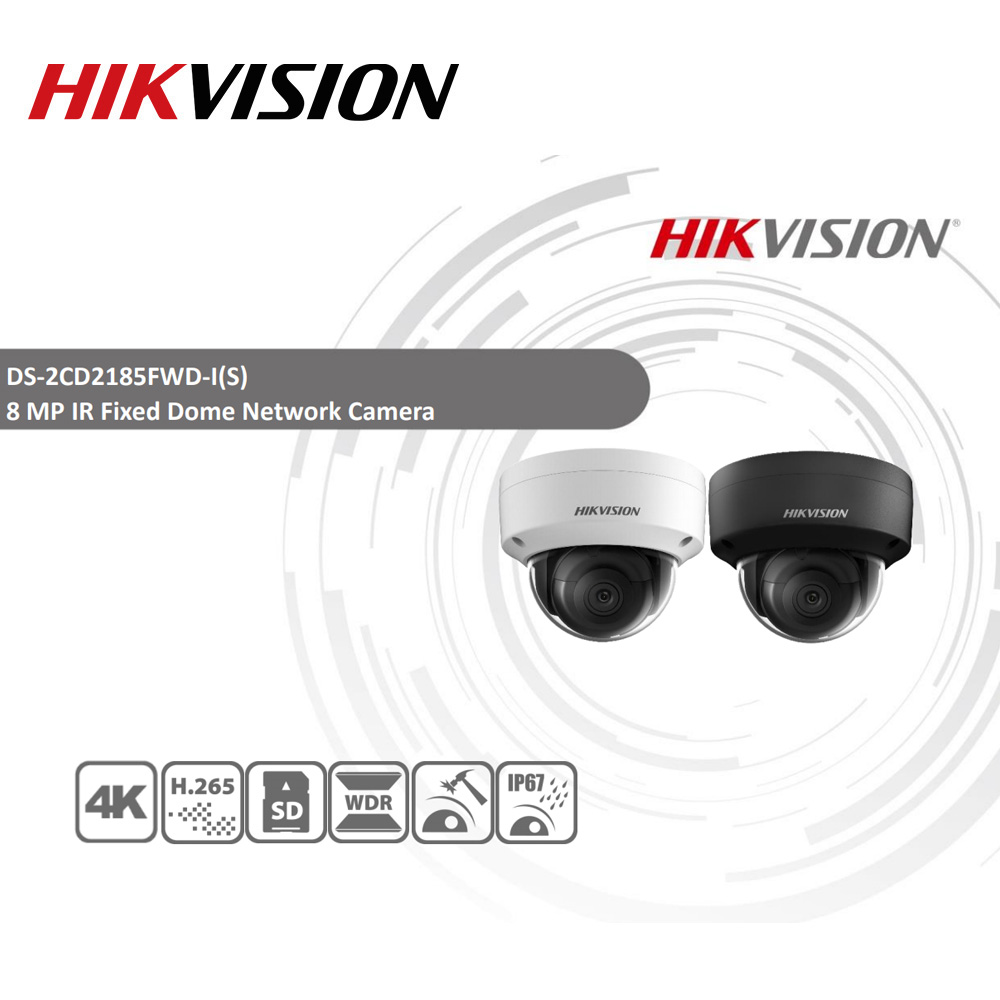 Hikvision Original IP Kamera DS-2CD2185FWD-I 8MP Netzwerk Dome POE IP Kamera H.265 CCTV Kamera Sd-karte Slot IK10 IP67 4 teile/los