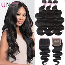 Волосы UNICE волнистые пучки с 5X5 закрытием бразильские волосы плетение 3 пучка с закрытием 100% человеческие волосы пучки 4 шт