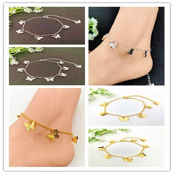 1 pcs Electroplate Alloy Butterfly Anklets For Women Fashion Silver Color Chain Ankle Bracelet on the Leg Bohemian Foot Jewelry image