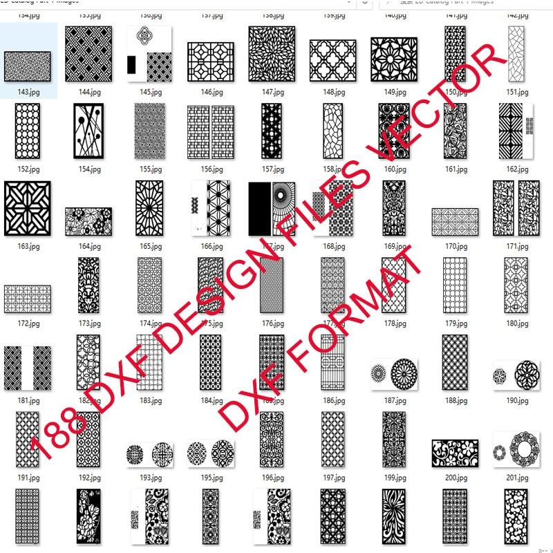 188 металлические двери окна Декор полый лист dxf формат 2d векторный дизайн чертеж для ЧПУ лазерной плазменной резки напильники коллекция