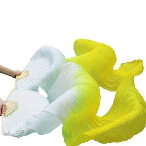 Image 2 - Abanico para danza del vientre 100% de seda auténtica/imitación de seda, velo de seda Natural pura de alta calidad, 1 par de abanicos del baile hechos a mano