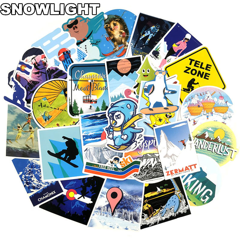 70Pcs Cartoon Winter Ski Travel Stickers For Laptop Guitar Cup Surfboard Skateboard Luggage Bicycle Fridge Scrapbook Sticker