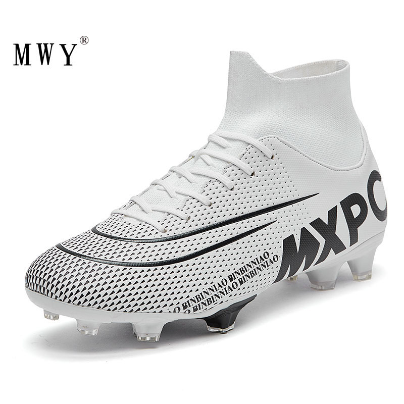 MWY Men Soccer Shoes High Top Football Boots Futsal Cleats Kids Sneakers Training Voetbalschoenen