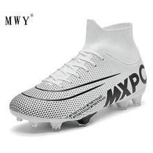 MWY Men Soccer Shoes High Top Football Boots Futsal Cleats Kids Sneakers Training Voetbalschoenen