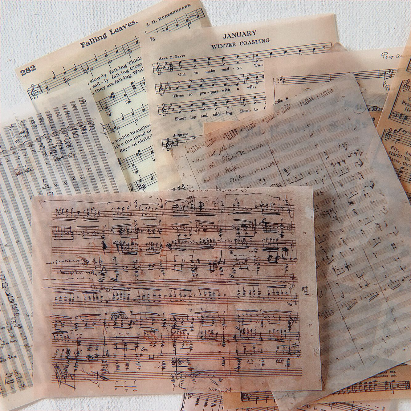 14pcs/pack Vintage Music Score Background Retro Material Translucent Paper Decorative Sticker DIY Scrapbooking Photo Label Album