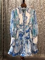 2019 New Fashion Elegant Blue and White Porcelain Printing Autumn Stand Collar Lantern Sky Blue Long Sleeve Midi Dress