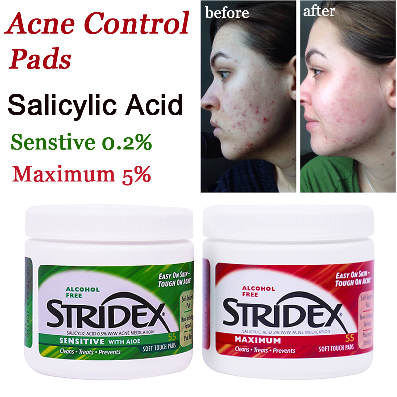 Acne Treatment Stridex Acne Control Pads With Salicylic Acid 0.5% 2% Women Men Remove Pimple Blemish Clear Pad 55PCS