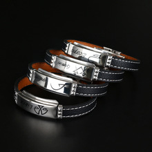 2021 New Handmade Retro Stainless Zodiac Charm Leather Bracelet Men Vintage Bangles Scorpion Leo Men Jewelry Pulseira Feminina