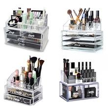 Makeup Organizer Cosmetic Storage Box Transparent Plastic Box Organizador Acrylic Desktop Jewelry  Bathroom Multifunctional