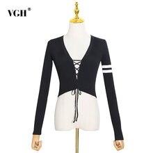 Женский свитер в полоску vgh с завязками и v образным вырезом