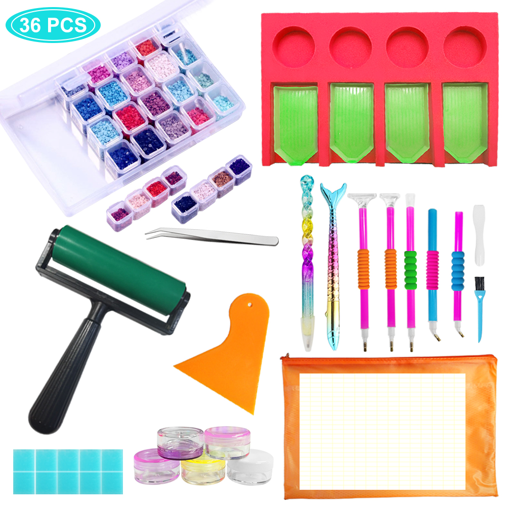 red Tool Bag 27 5D Diamond Painting Tools and Accessory Kits for Adults or Children with Diamond Painting Roller and Diamond Embroidery Box