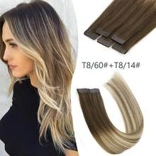 K.S WIGS 20'' 2.5g/pc Balayage Color Tape In Human Hair Remy Skin Weft Adhesive Tape On Hair Extensions T8/60+T8/14#