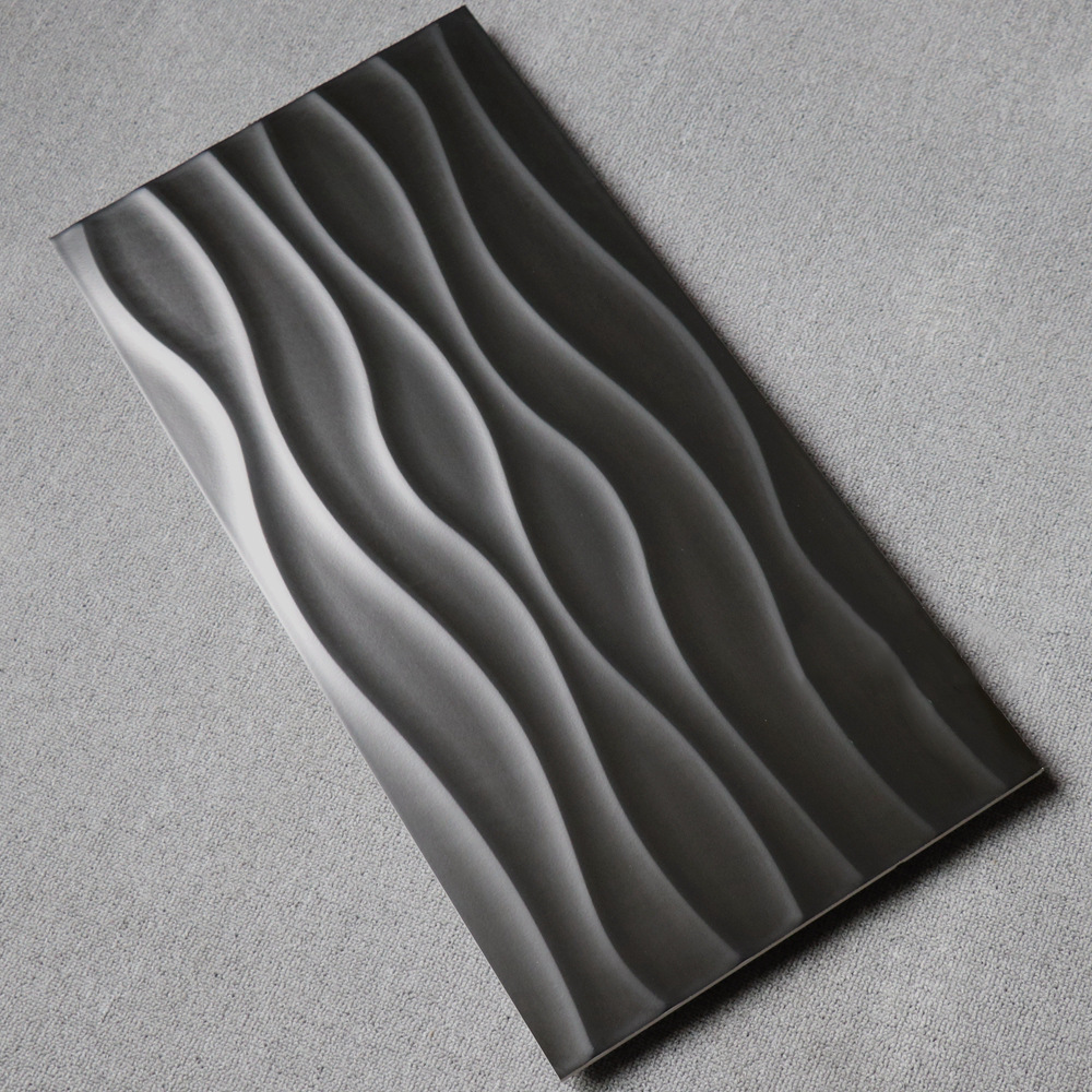 Ideal Stereo Wave Pattern Wall Tile 300*600 Environmentally Friendly Wall Ceramic Black And White Soft Shiny Side Tiles