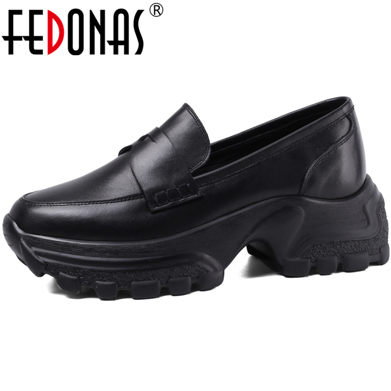 FEDONAS 2020 Spring Summer New Fashion Concise Casual Women Cow Leather Fretwork Thick Bottom Comfortable Slip-On Shoes Woman